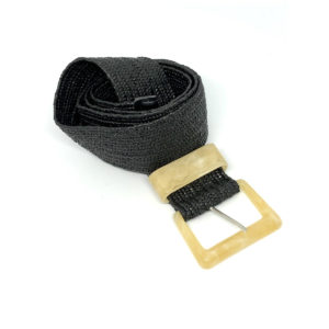 Stretchy Belt - Black with Acrylic Buckle