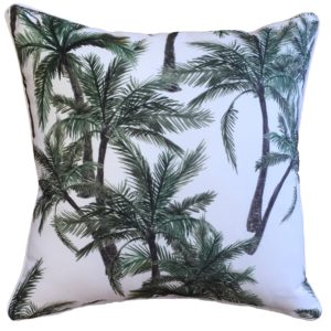 Vintage Palm White Cushion