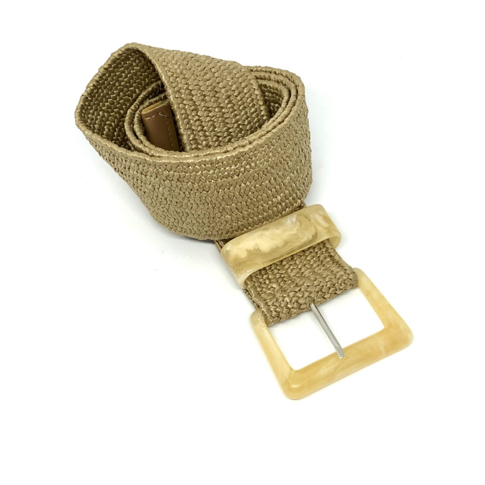 Stretchy Belt - Beige with Acrylic Buckle