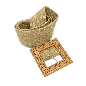 Stretchy Belt - Beige with Rattan Buckle