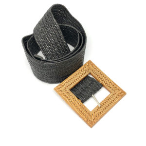 Stretchy Belt - Black with Rattan Buckle