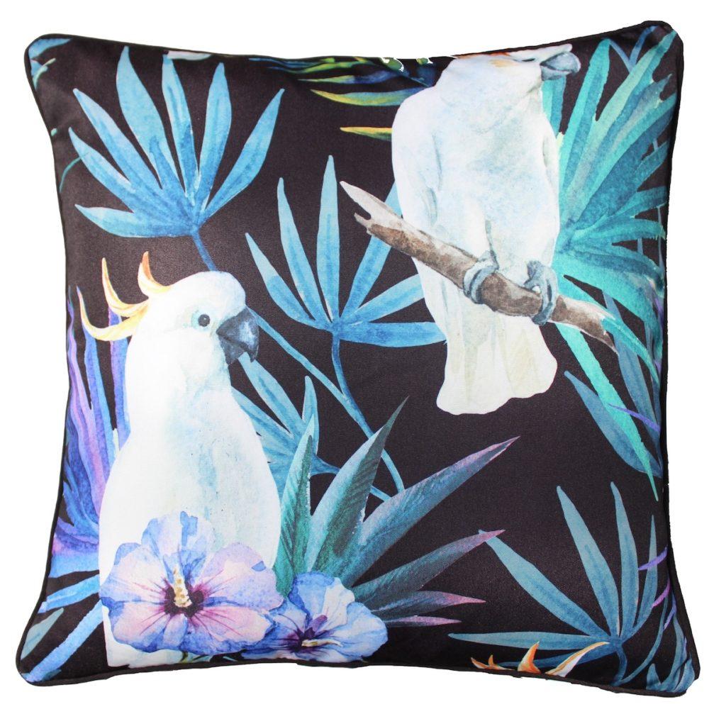 Black Cocky Bird Outdoor Cushion