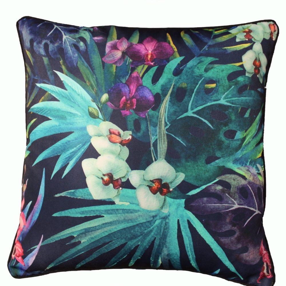 Black Cocky Flower Cushion