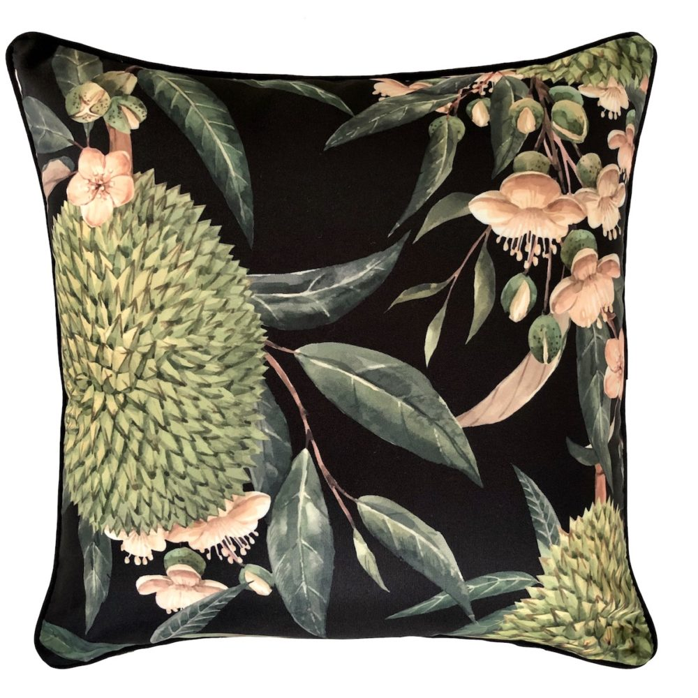 Exotic Blooms Black cushion