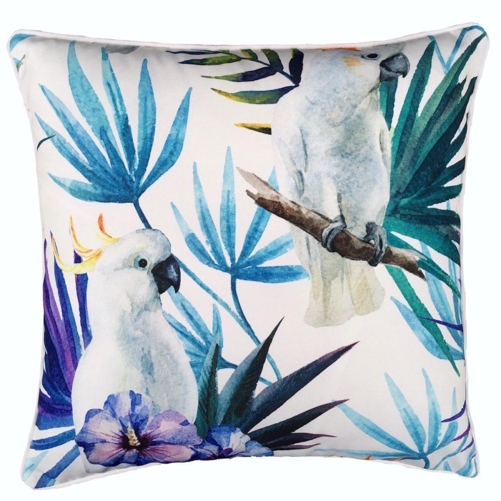 White Cocky Bird Outdoor Cushion