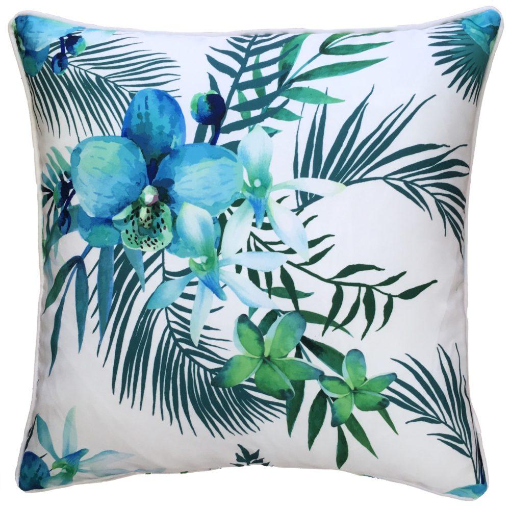 Blue Lagoon White Posey Outdoor Cushion