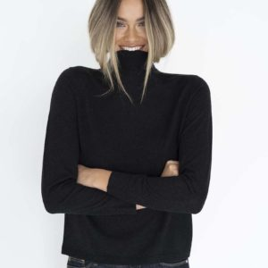 Ruby Hi Neck Basic Knit Midnight - Humidity Lifestyle