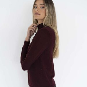 Ruby Hi Neck Basic Knit Plum - Humidity Lifestyle