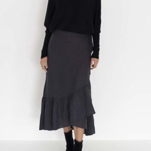Macy Wrap Skirt Charcoal - Humidity Lifestyle