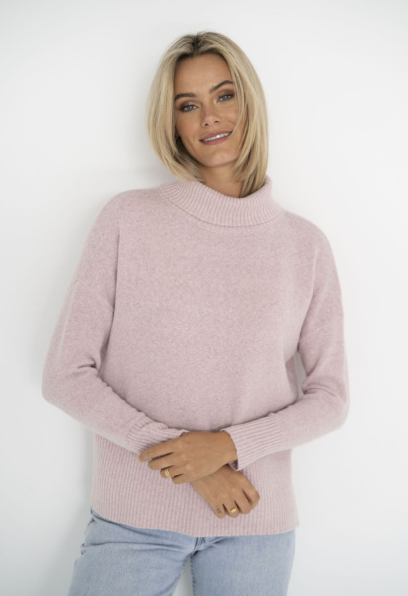 Serenity Roll Neck Jumper Baby Pink - Humidity Lifestyle