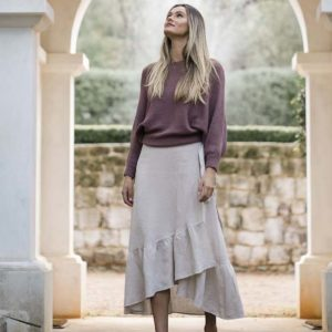 Macy Wrap Skirt Stone - Humidity Lifestyle