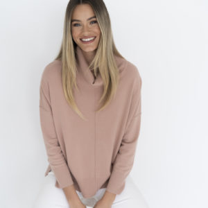 Sana Soft Roll Neck Top Deep Blush - Humidity Lifestyle