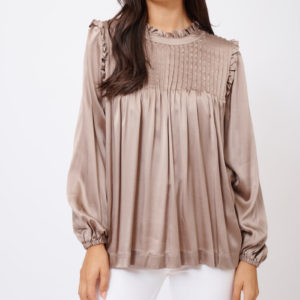 Silk Chiquita Top Long Sleeve Copper - Alessandra