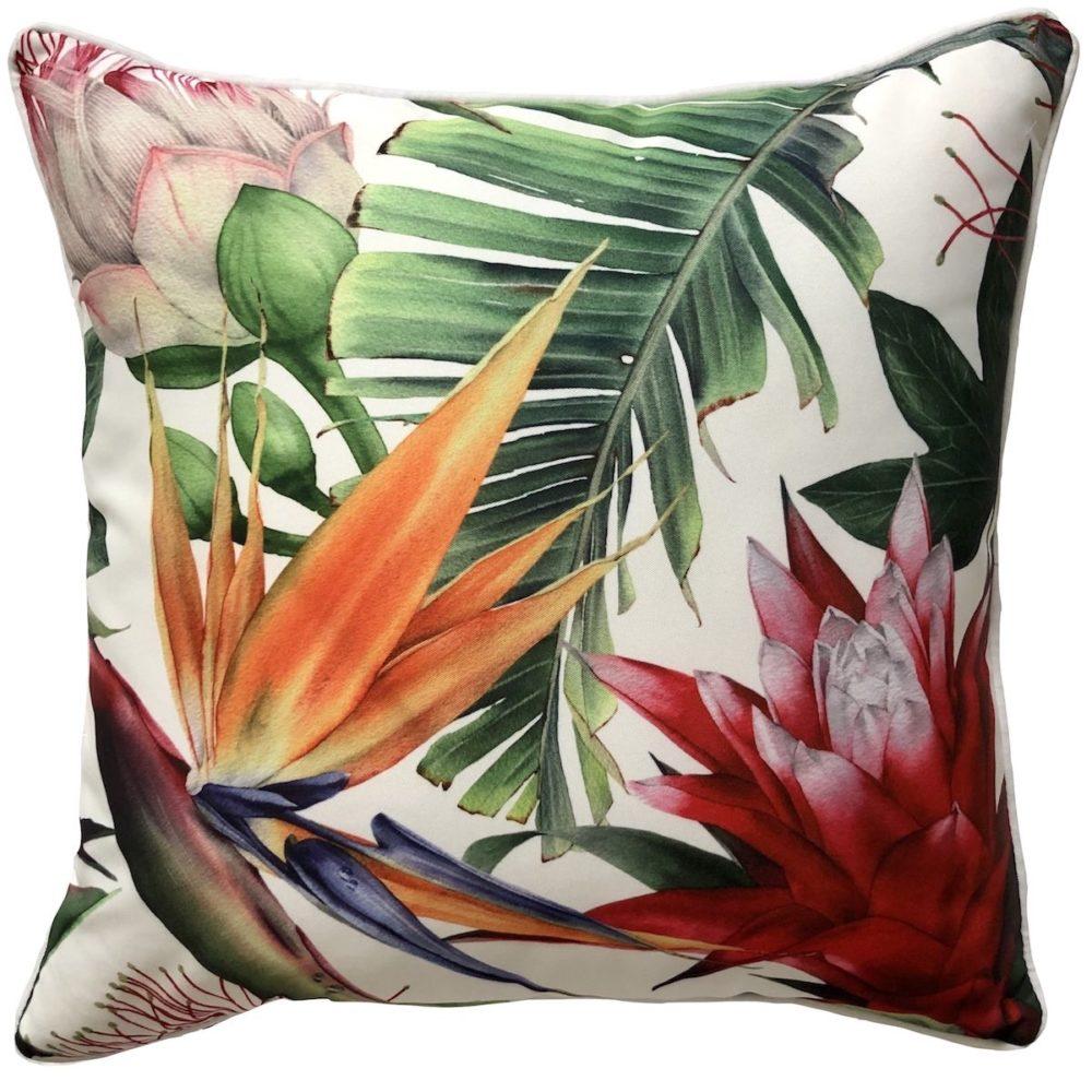 Bromeliad White Outdoor Cushion