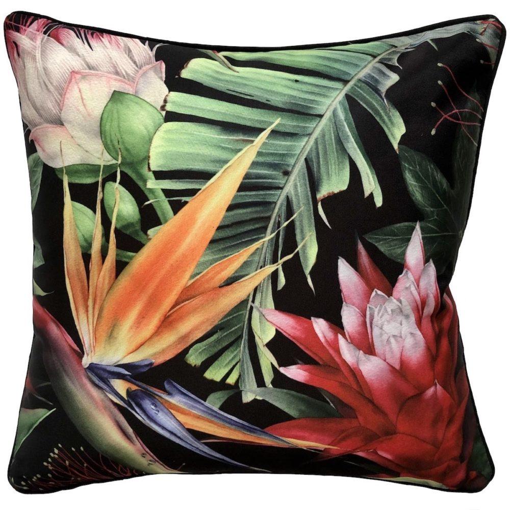 Bromeliad Black Outdoor Cushion