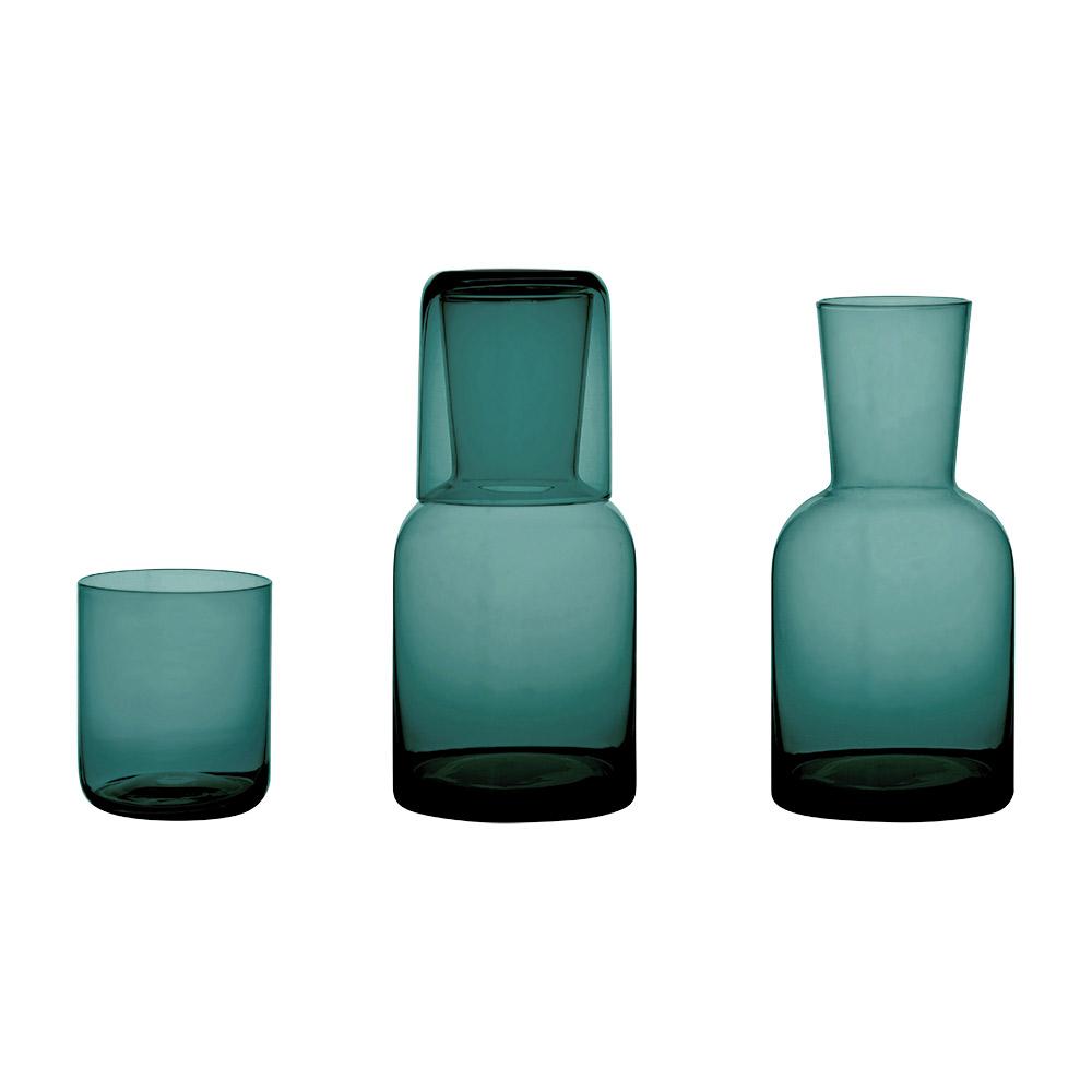 Glass Water Carafe Set - Green