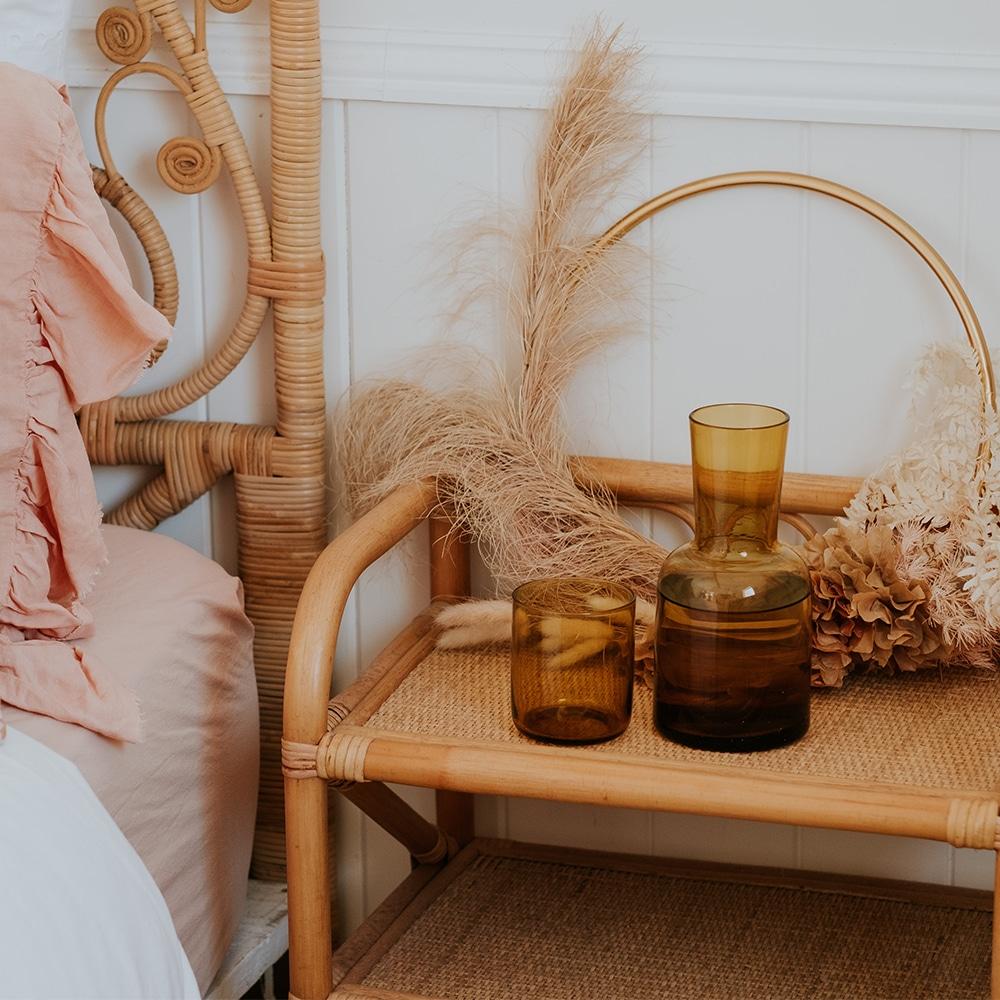 Glass Water Carafe Set - Amber