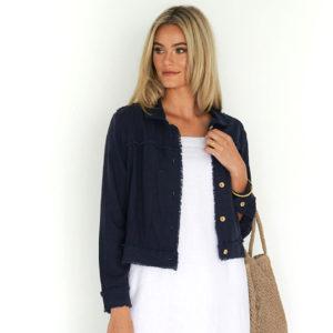Isabella Linen Jacket Navy Humidity Lifestyle