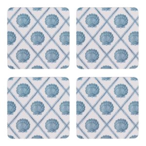 Scallop Blue Coaster Set