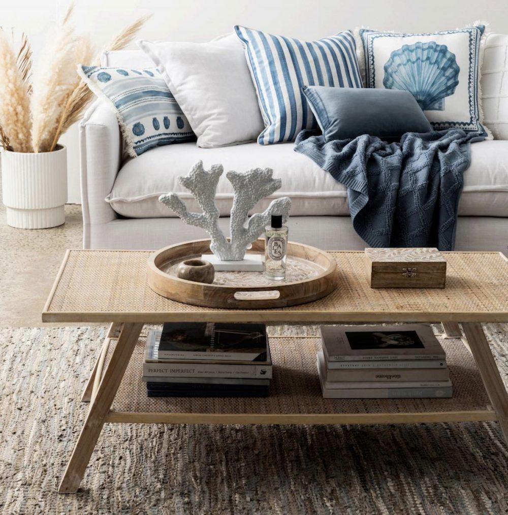 Scallop Stripe Blue Cushion